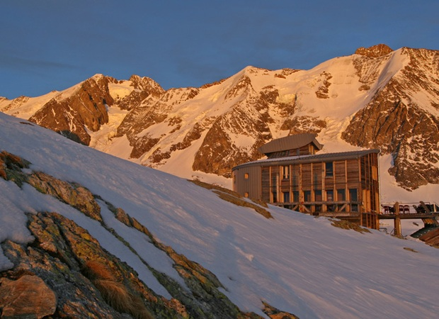 The Refuge des Conscrits, mountain hut located in the Mont-Blanc massif at an elevation of 2602m.