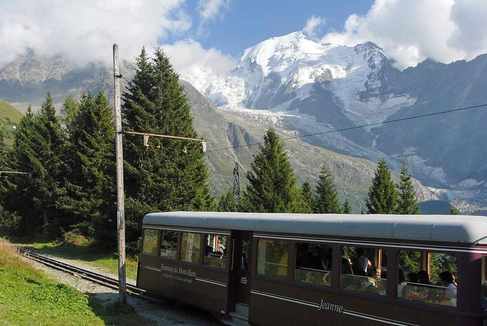 Tramway bleu du Mont-Blanc, photo de Bbb, sous licence CC-BY 1.0, source @ commons.wikimedia.org / wiki