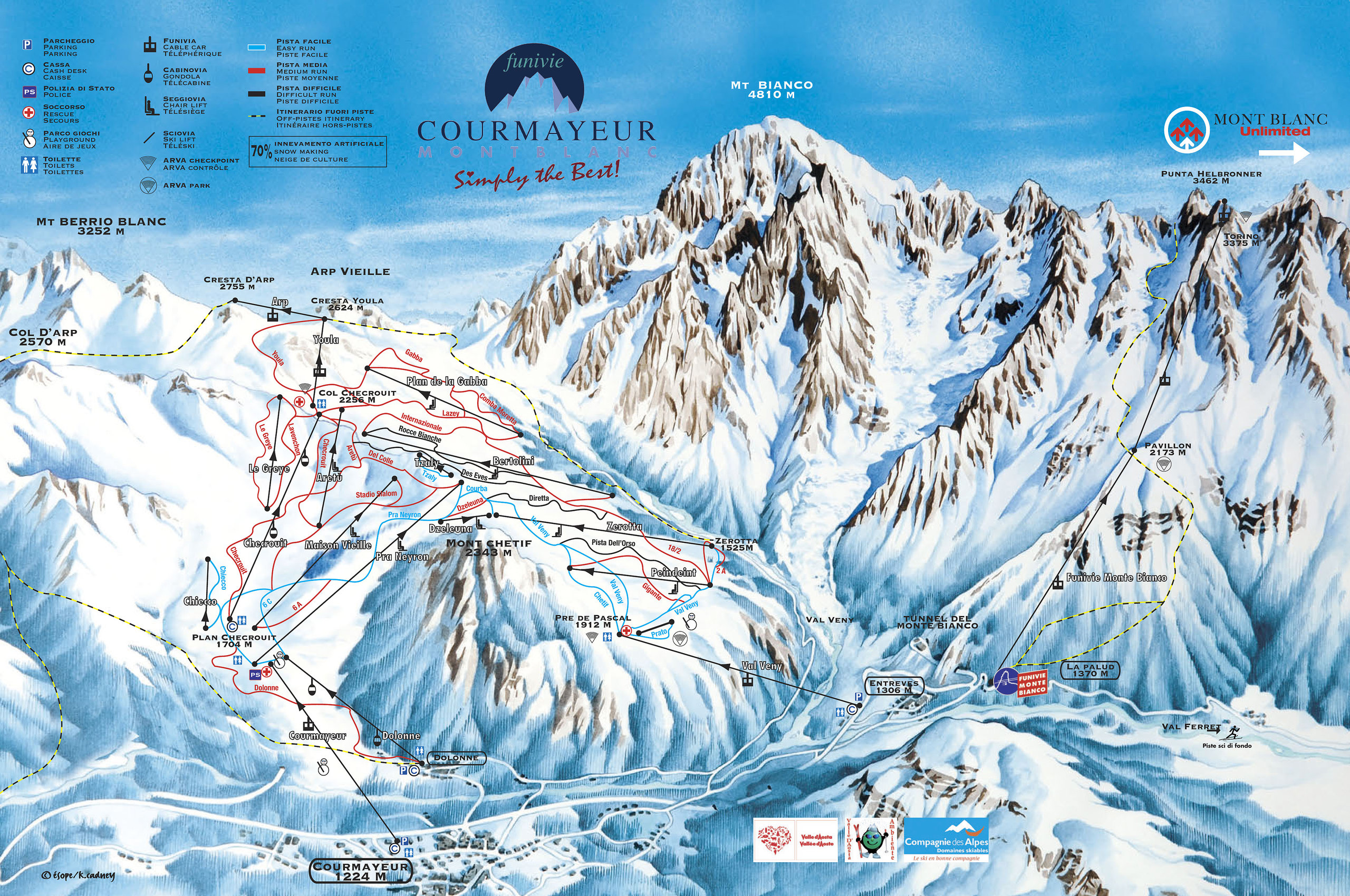 Chamonix Valley Ski Resorts Map Grands Montets la Flegere Brevent