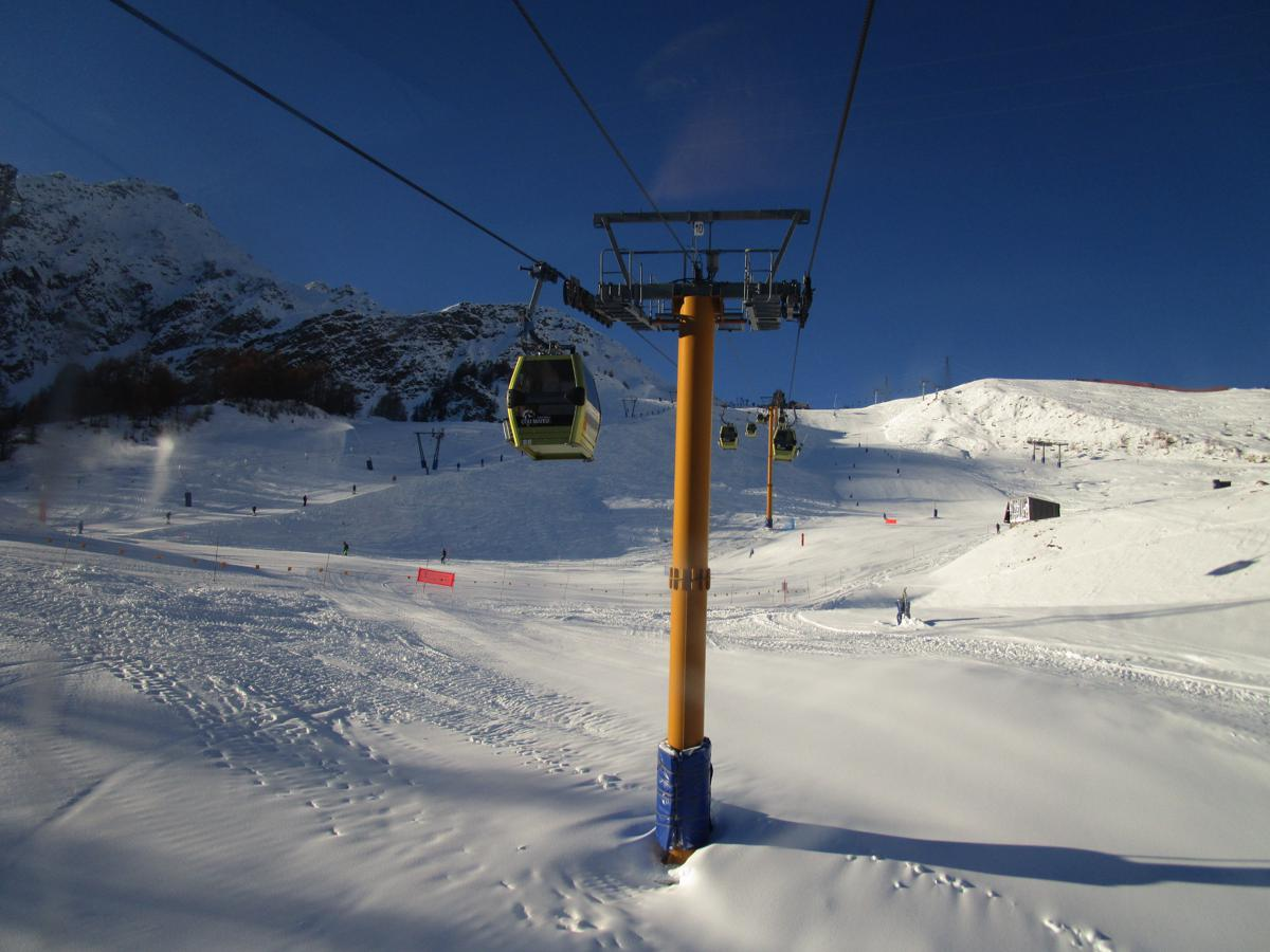 Courmayeur North facing slopes with snow on Sunday