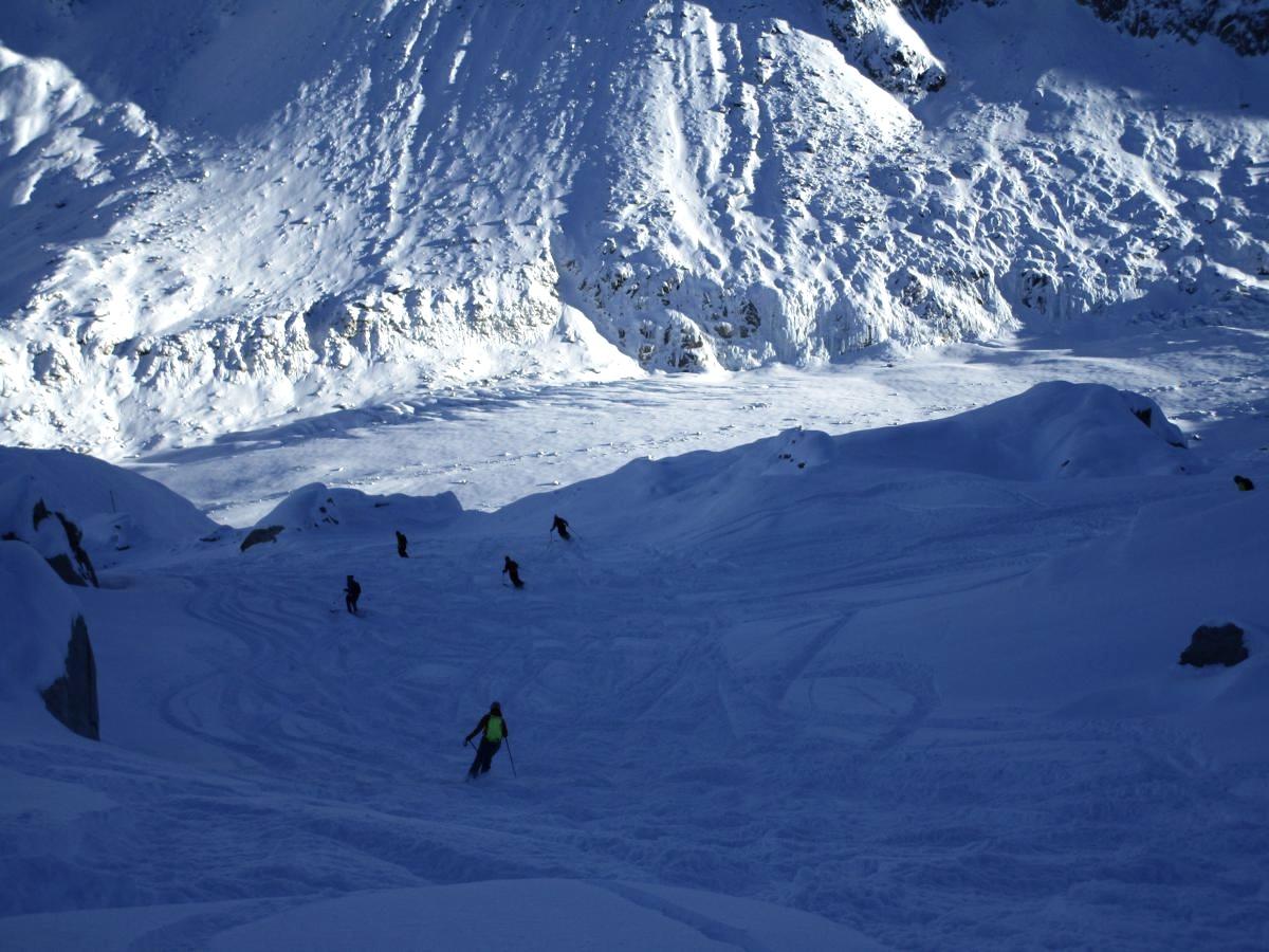 Grands Montets top hier - glace et rochers sous la poudreuse