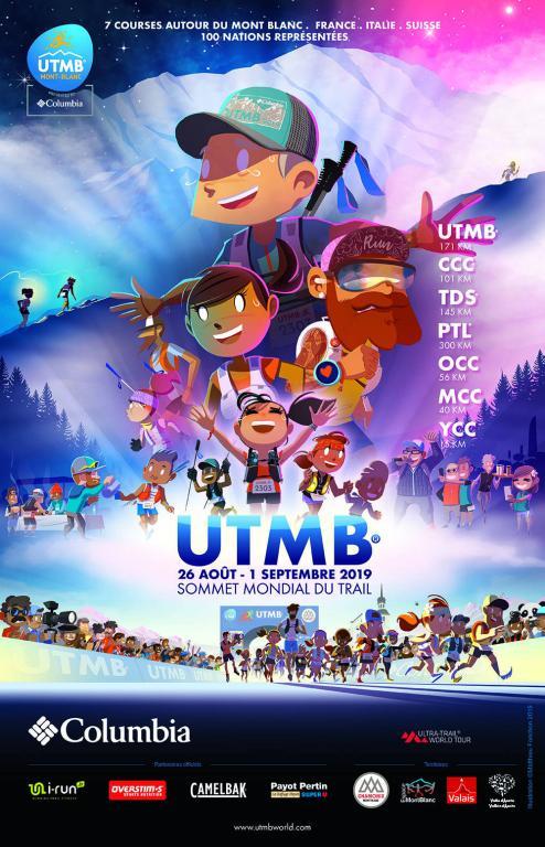Poster UTMB® 2019, créé par Matthieu Forichon, trouvé sur @ utmbmontblanc.com