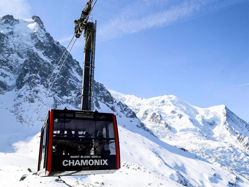 The Aiguille du Midi cable car in Chamonix
