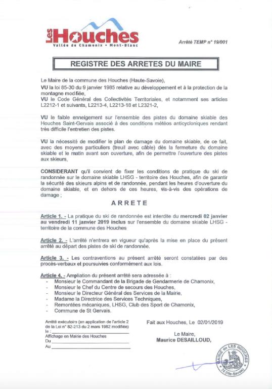 Arrêté du Maire des Houches