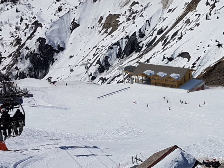 Installation of the future arrival station of the Charamillon gondola on the Balme ski area. Source: Compagne du Mont Blanc