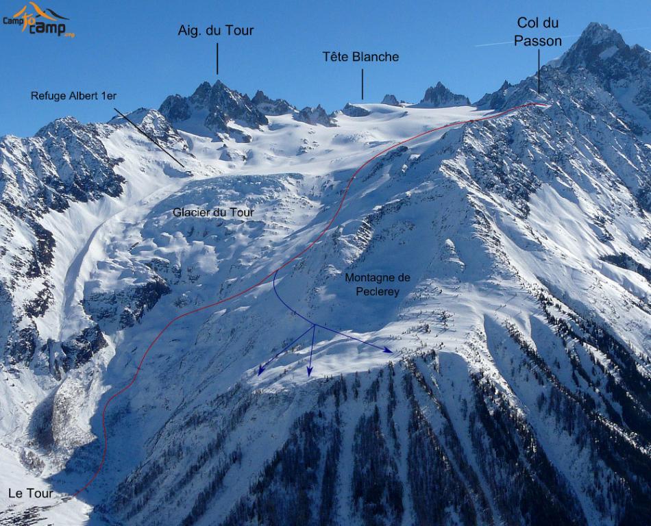 Glacier du Tour - col du Passon (3,028m)