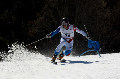 Skier competing in the Télémark World Cup in Chamonix