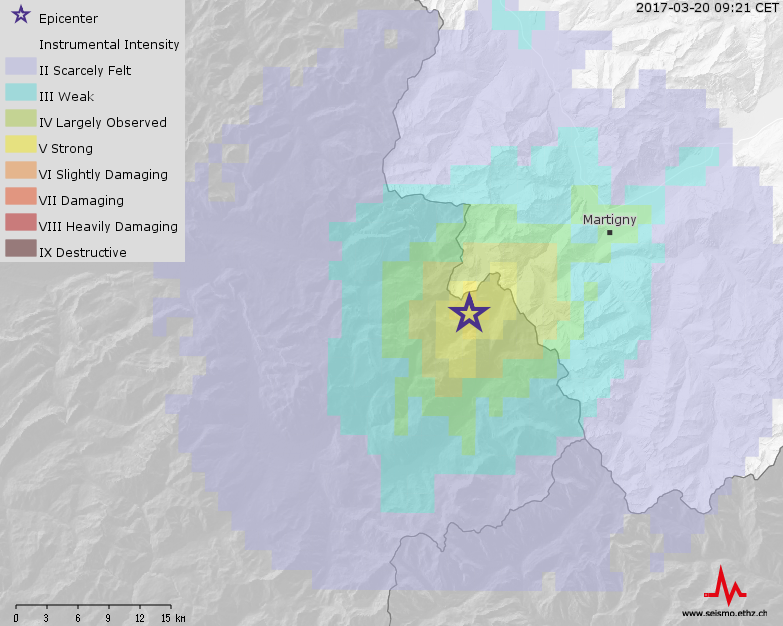 Earthquake 3.3 between Vallorcine and the swiss border. photo source: @Le Service Sismologique Suisse