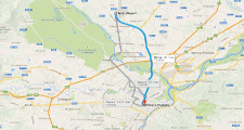 Map Caselle to Turin center