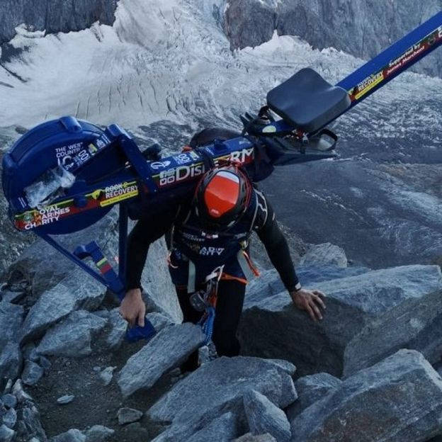 Matthew Disney attempted to climb Mont-Blanc with a rowing machine, photo source @bbc.com