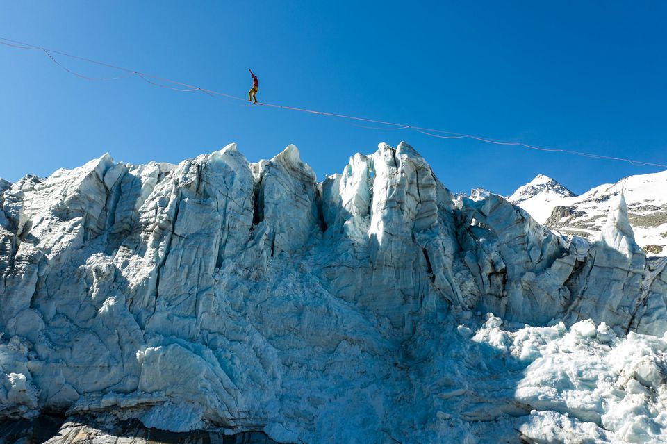 Nathan Paulin above the Argentière glacier on 26 May, 2020. Photo source @liberation