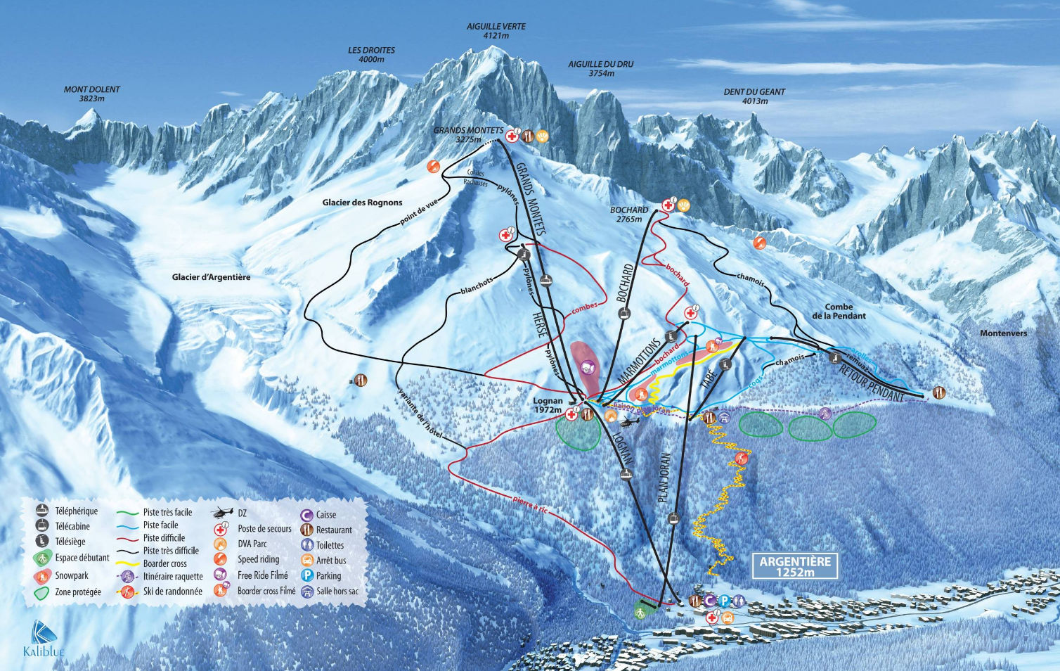 les grands montets and lognan - ski areas in chamonix