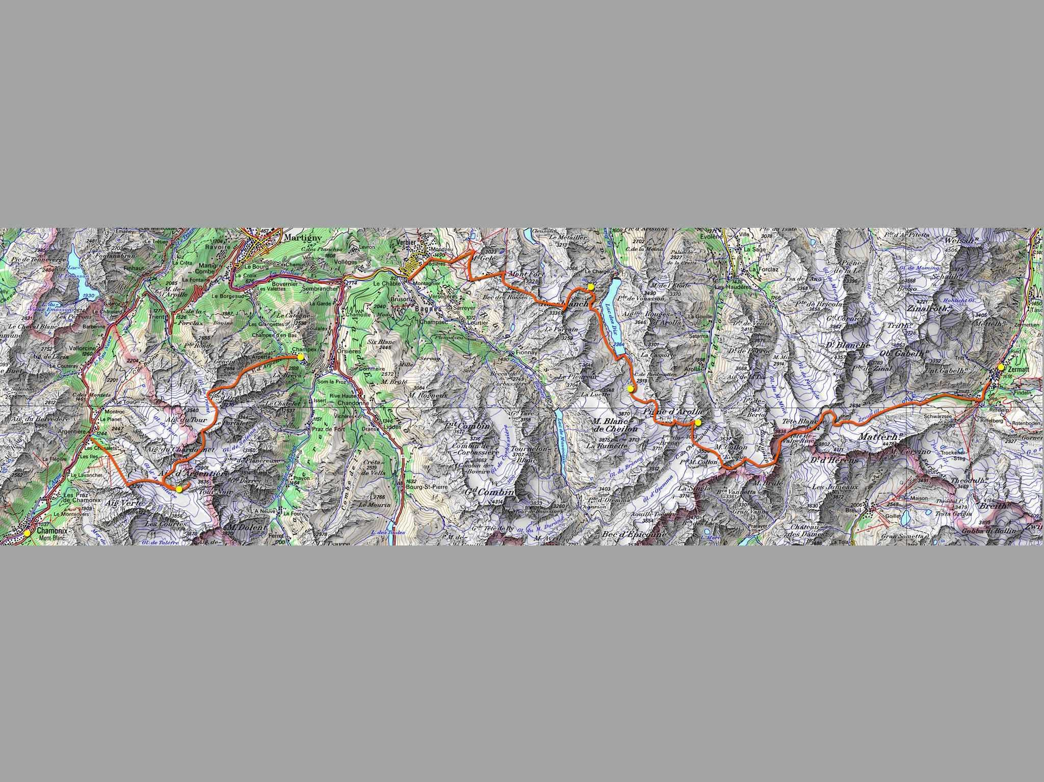 The walkers haute route hike from chamonix to zermatt for Haute in english