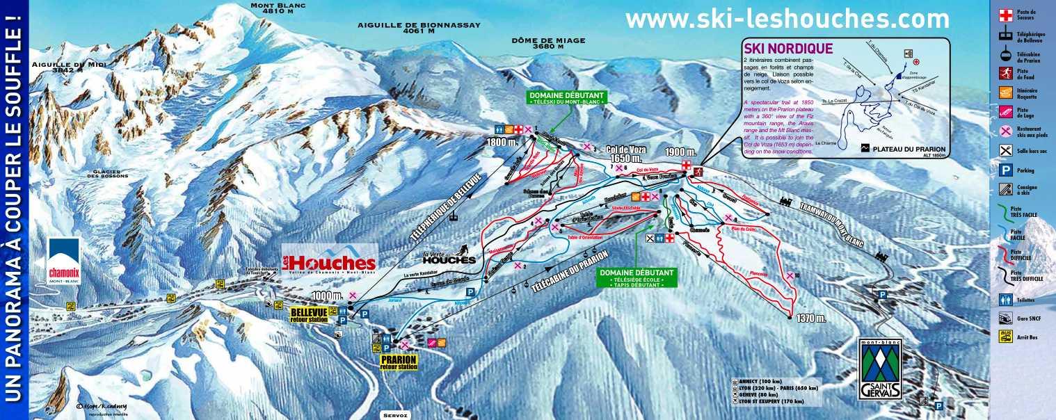Plan des domaines skiables de la Valle de Chamonix et des pistes de ski