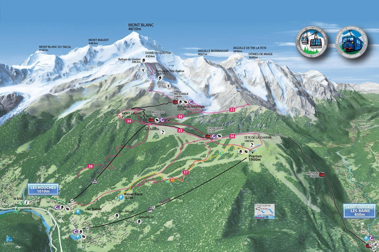 Chamonix Valley Ski Resorts Map Grands Montets la Flegere Brevent