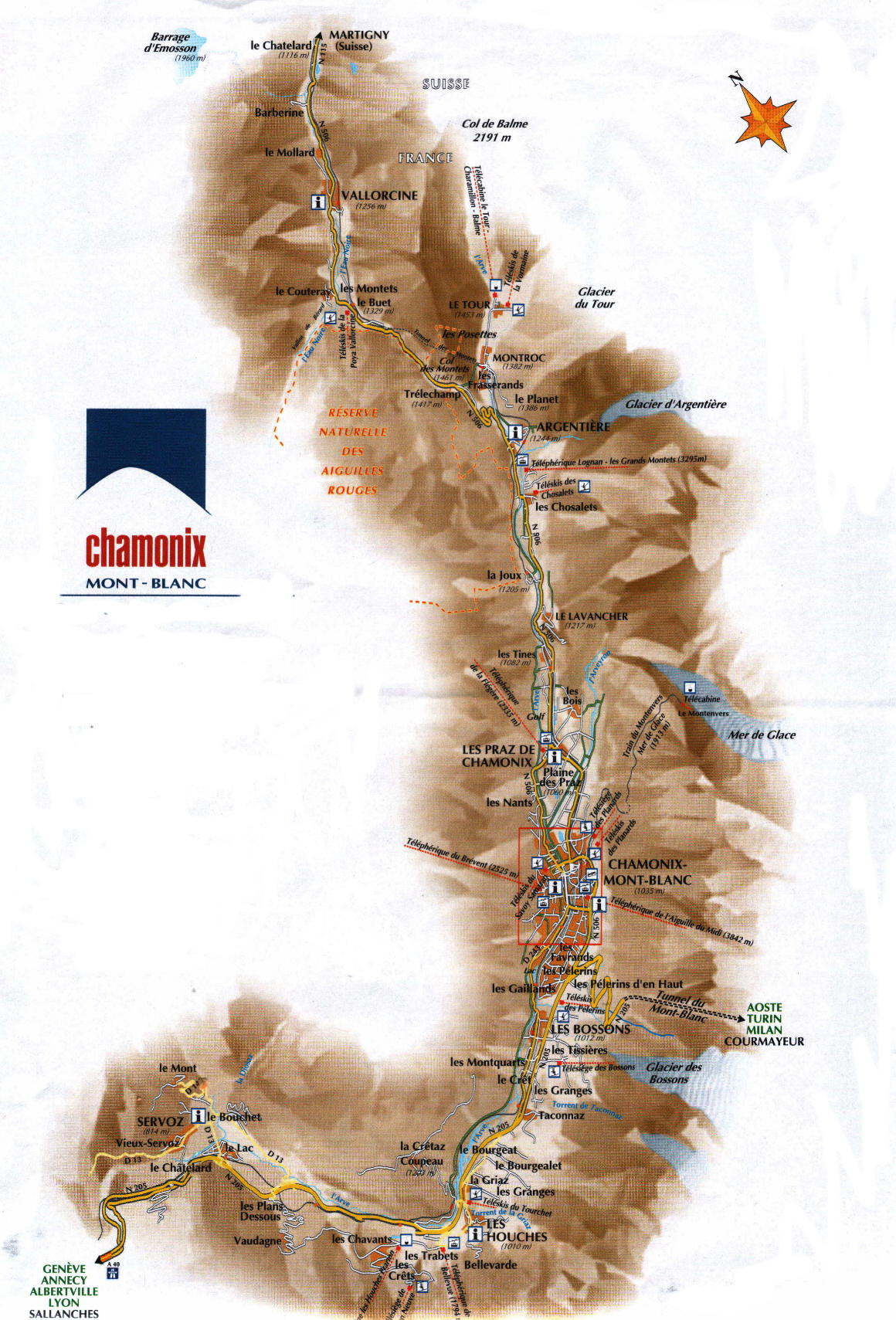 Chamonix Town Maps Les Houches Town and Argentiere Village Map