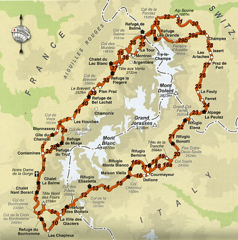 carte tour du mont blanc Tour du Mont Blanc Hiking   Routes, Maps and Itineraries