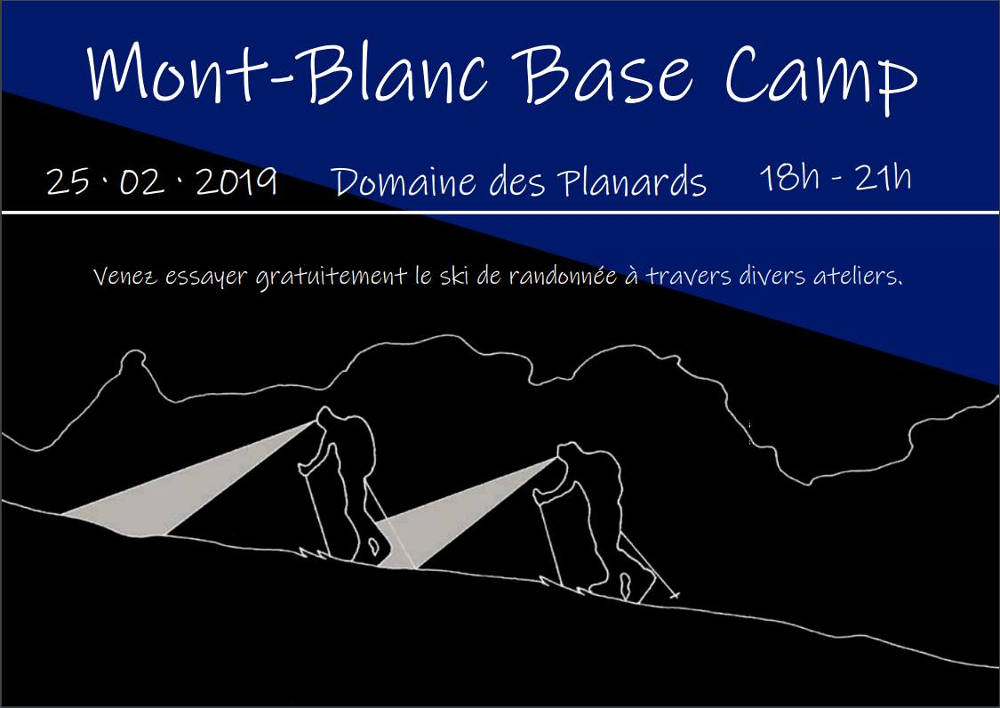 Mont Blanc Base Camp - poster of evening ski touring