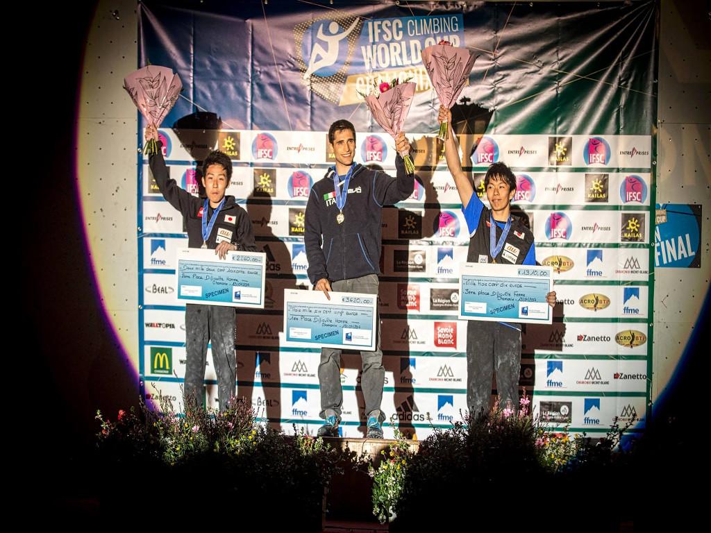 Men's podium, from left: Keiichiro Korenga (2nd), Marcello Bombardi (1st) and Yuki Hada (3rd). Photo source: @Rémi Fabregue