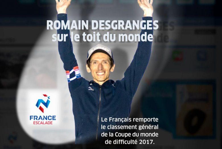 Romain Desgranges wins the Lead IFSC Climbing World Cup 2017! Photo source: FFME - Fédération Française de la Montagne et de l'Escalade