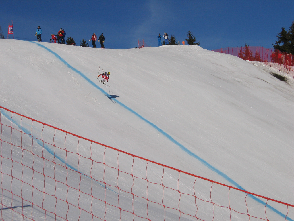 Amazing jump during The Kandahar Ski World Cup