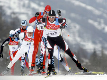 Skiers in Chamonix cross country skiing