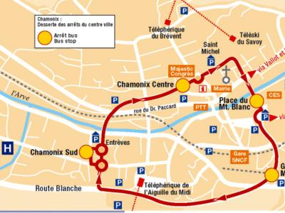 The Chamonix town Bus map