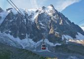 The Aiguille du Midi cable car route in Chamonix