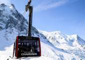 The Aiguille du Midi cable car in Chamonix