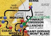 The map of the Tour de France 2016 near Chamonix
