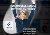 Romain Desgranges remporte la Coupe du monde de difficulté 2017! Photo source: FFME - Fédération Française de la Montagne et de l'Escalade