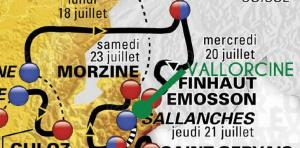 The map of the Tour de France 2016 near Chamonix
