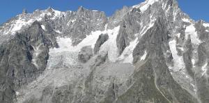 Pente sud des Grandes Jorasses, avec le glacier Planpincieux à gauche, source de la photo @https: //fr.wikipedia.org/wiki/Planpincieux_Glacier, sous licence CC BY-SA 4.0