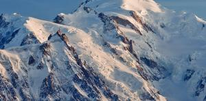 Mont Blanc in summer, the biggest peak of the Alps