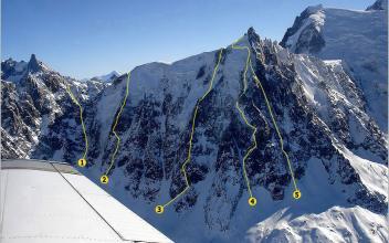 Les Goulottes de la Face Nord de l'Aiguille du Midi et Aiguille du Plan, photo source @http://yannick.michelat.free.fr/