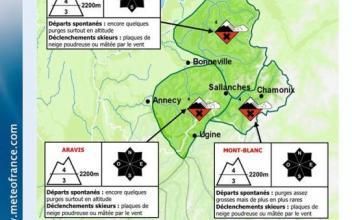 En photo la carte générale et le bulletin détaillé pour le Massif du Mont Blanc. Pohoto soure: @www.meteofrance.com