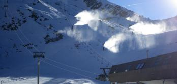 Snowmaking on the Grands Montets pistes yesterday