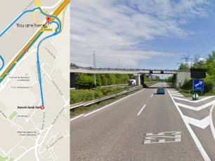 Take exit 7-Gd-Saconnex toward Ferney to leave the A1