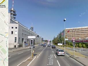 Continue along Route de Pré-Bois, pass through more sets of traffic lights