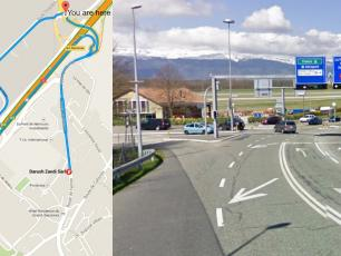 Cross over the autoroute and 150m later, at the traffic light junction, take a left turn