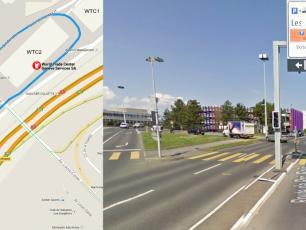 At the junction, turn left on to Route de l'Aéroport, signs for P51