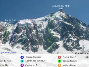 Face nord de l'Aiguille du Midi, y compris le couloir Eugster, photo réalisée par Thomas Charbonneau, sous licence CC-BY 2.0, disponible sur https://commons.wikimedia.org/wiki/File:Aiguille_du_Midi_-_North_face_-_Route.jpg