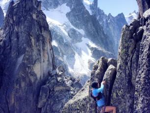 Emelie Forsberg climbing in the Mont-Blanc Massif