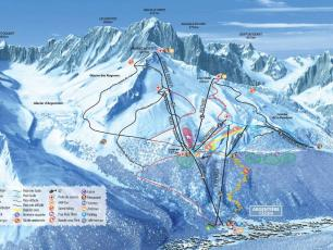 Detailed map of Grands Montets - slopes, lifts, snow park