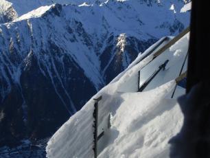 Glace sur l'Aiguille du Midi hier