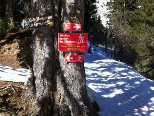 Ski touring trail markings in Les Houches