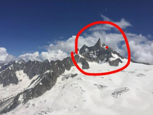 Dent du Géant : Accident Location. source: @Luke Stevens personal gallery. Luke Stevens took this photo from the lift, the day before.
