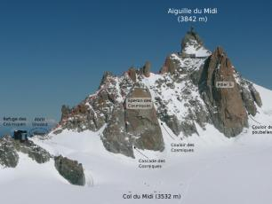 Cosmiques corridor is situated underneath the Aiguille du Midi