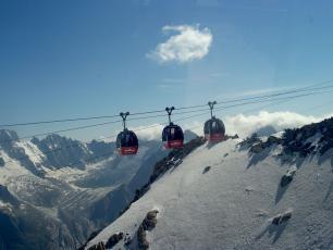 Gondola between France and Italy Panoramic Mont Blanc Chamonix