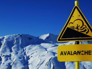 Avalanche Danger Sign in Chamonix, Brevent Ski Area